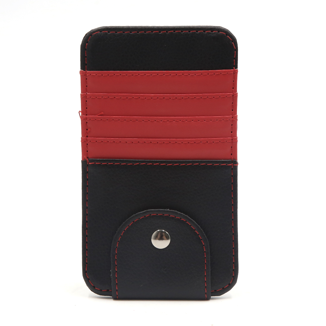 Red Faux Leather Car Sun Visor Organizer Card Glasses Storage Holder Case Bag