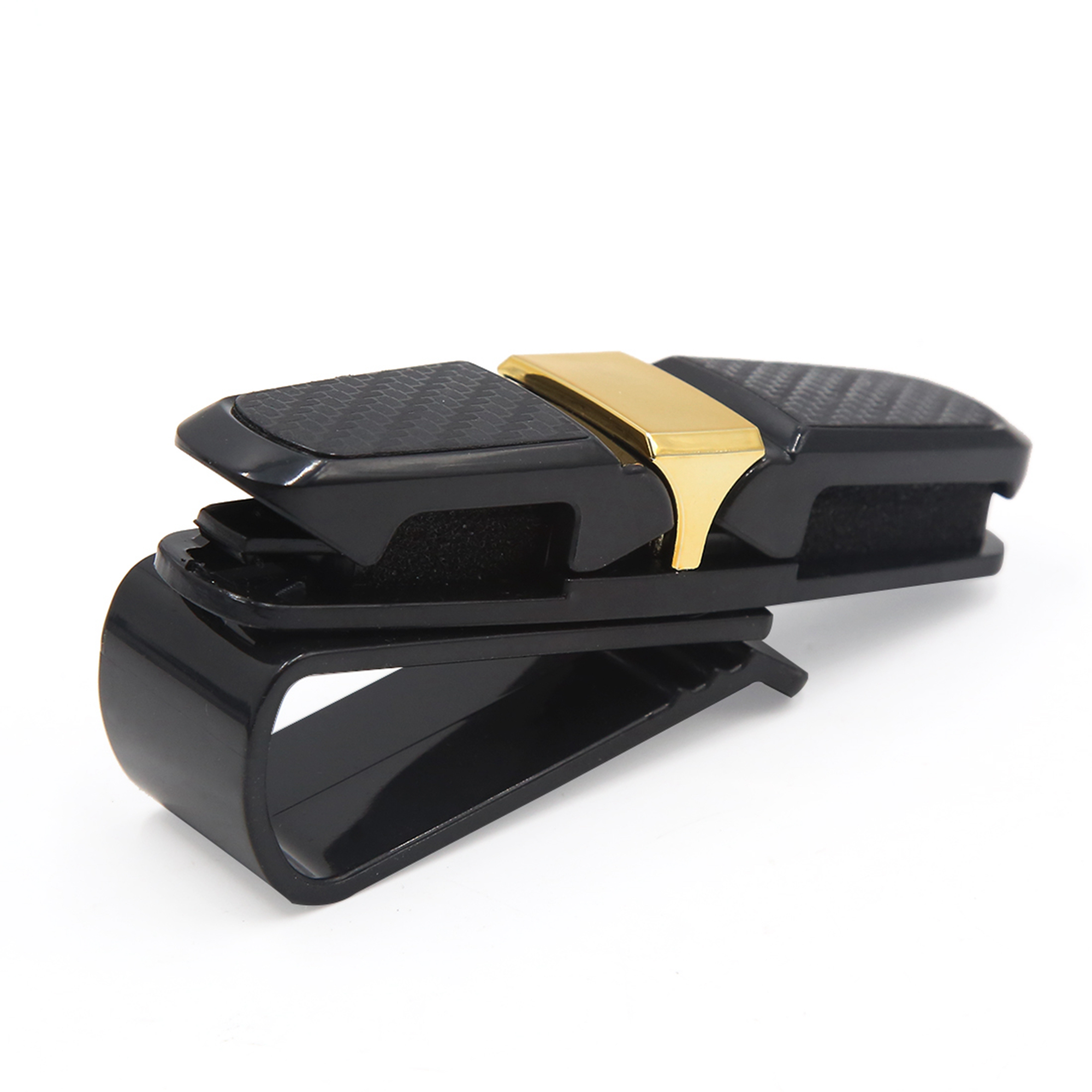 Gold Tone Black Car Auto Sun Visor Double Ends Sunglasses Glasses Card Holder Clip