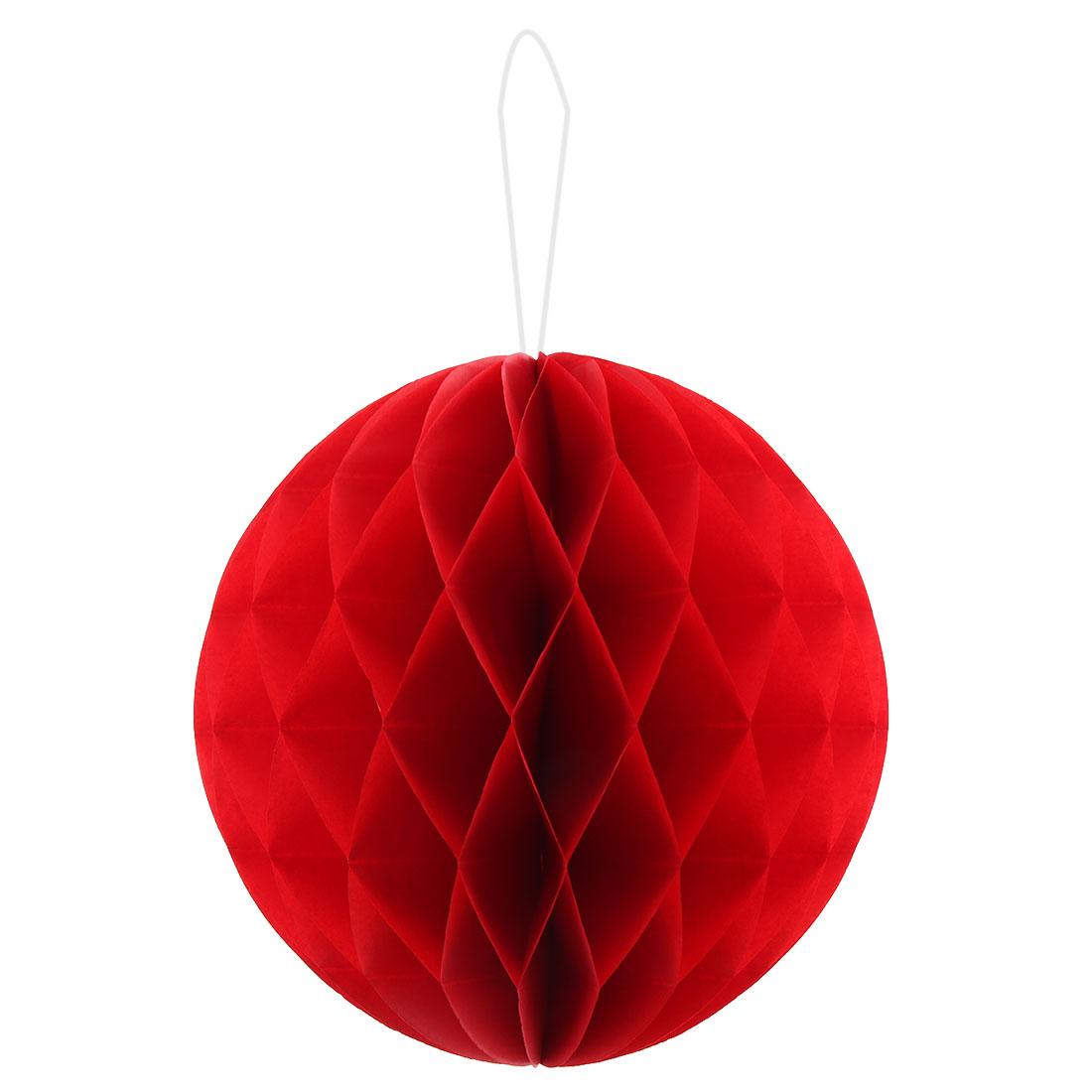 Paper Foldable DIY String Hanging Lantern Lamp Decor Honeycomb Ball Red 12 Inch Dia
