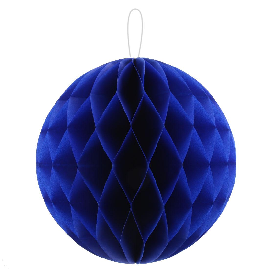 Home Paper Self-adhesive Handmade Hanging Decor Honeycomb Ball Royal Blue 12 Inch Dia
