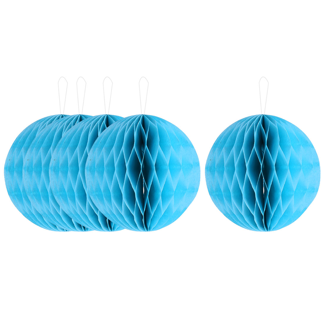Household Party Paper Wall Window Door DIY Decoration Honeycomb Ball Blue 4 Inch Dia 5 Pcs
