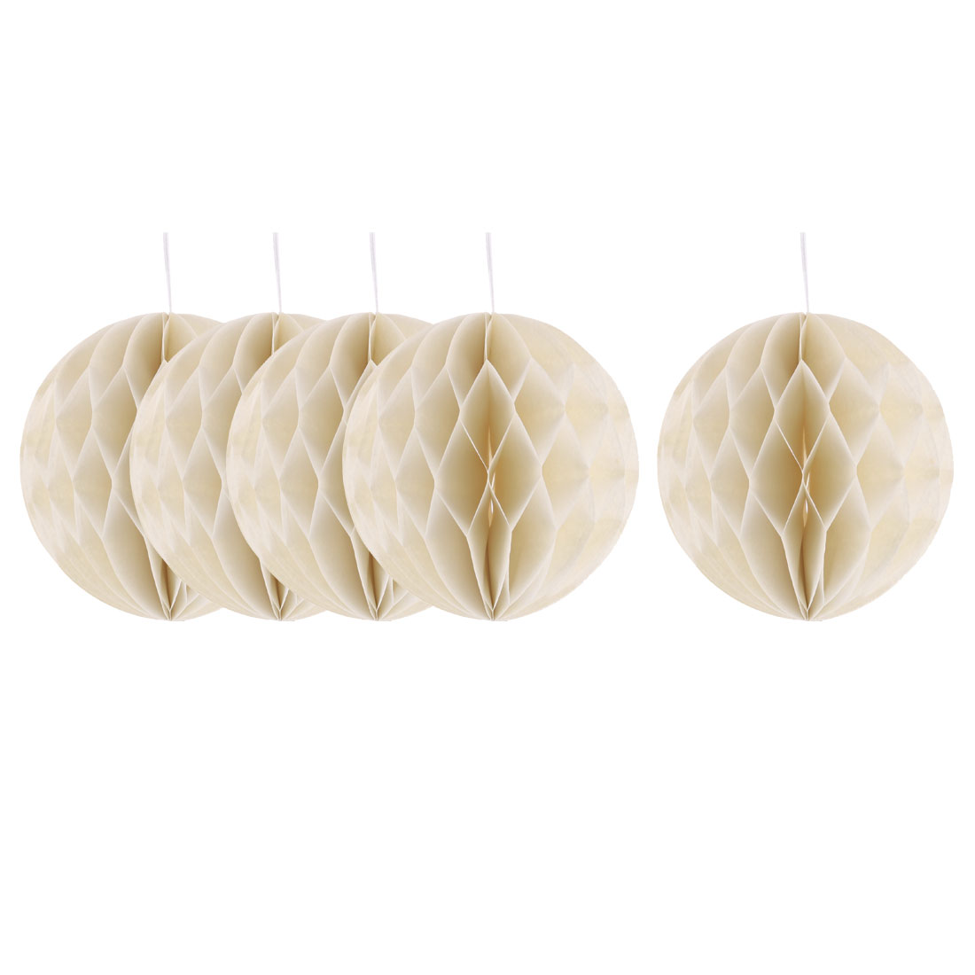 Household Party Paper Wall Window Door DIY Decoration Honeycomb Ball Beige 4 Inch Dia 5 Pcs