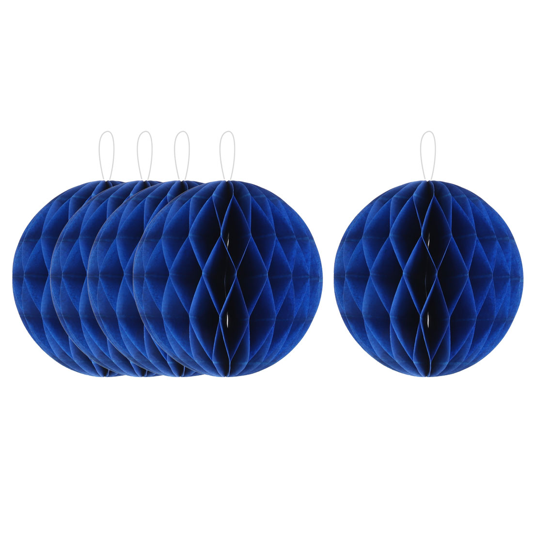 Household Party Paper Wall Window Door DIY Decoration Honeycomb Ball Royal Blue 4 Inch Dia 5 Pcs
