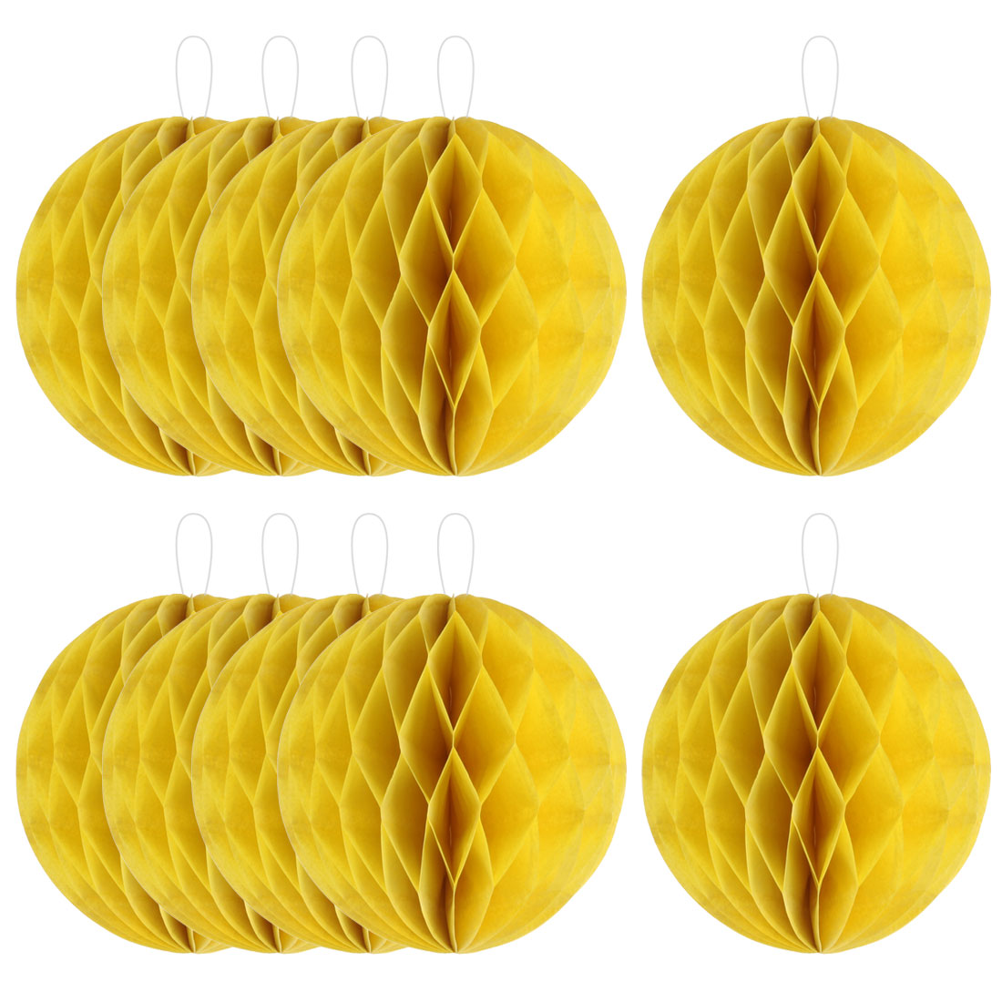 Household Party Paper Wall Window Door DIY Decoration Honeycomb Ball Yellow 4 Inch Dia 10 Pcs