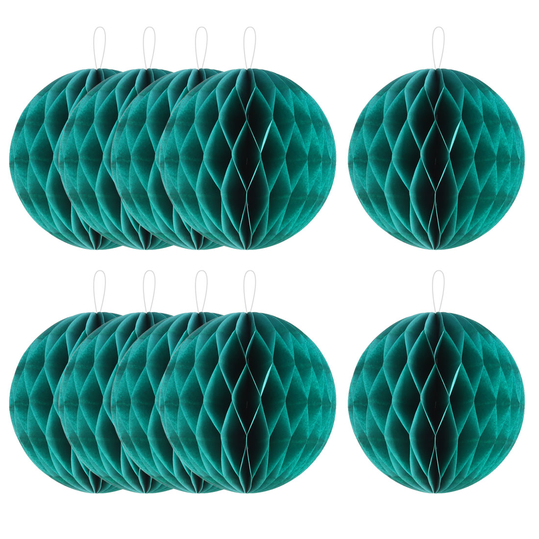 Home Hotel Paper Wall Window Door DIY Decoration Honeycomb Ball Green 4 Inch Dia 10 Pcs