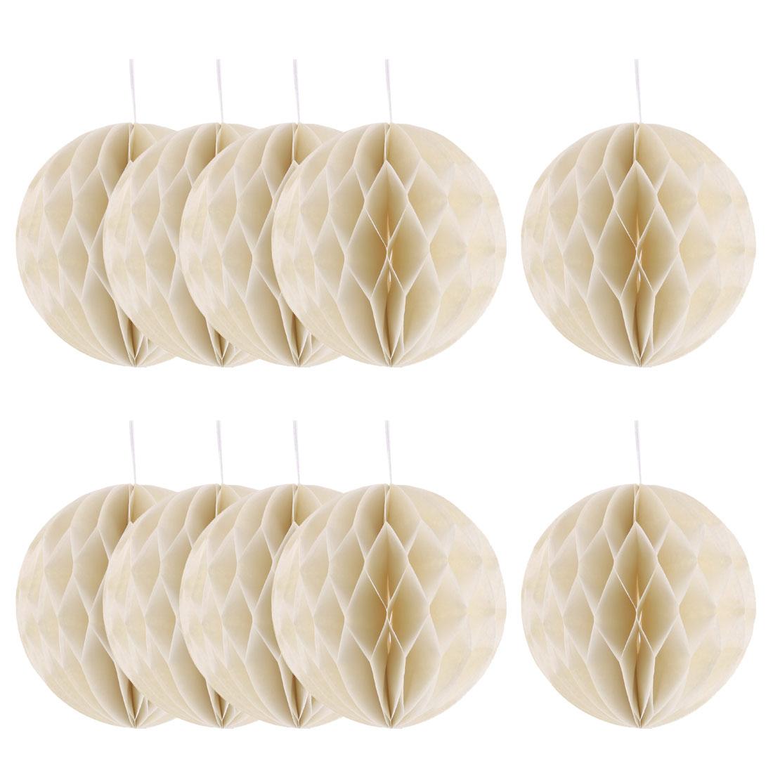Household Party Paper Wall Window Door DIY Decoration Honeycomb Ball Beige 4 Inch Dia 10 Pcs