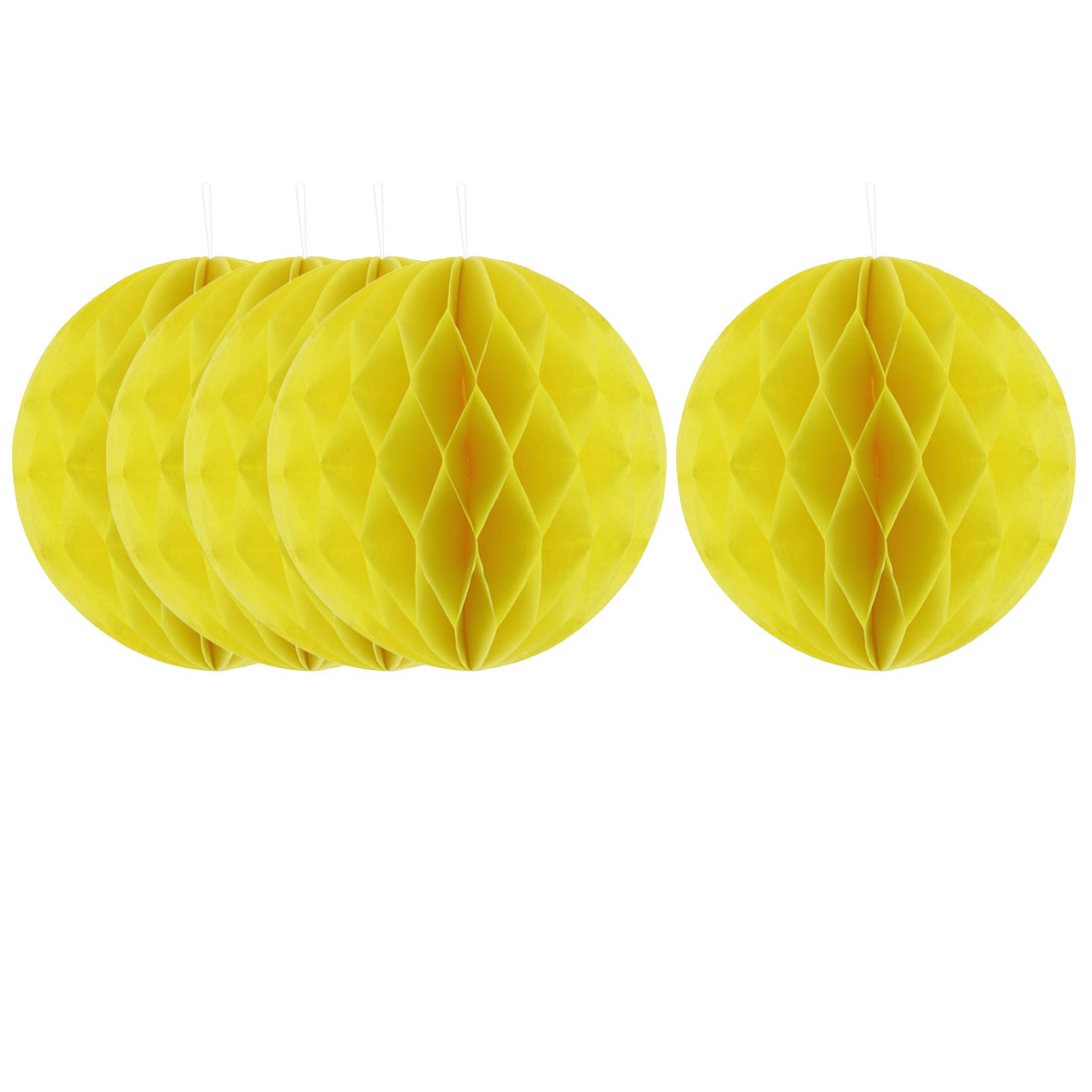 Party Lantern Design Tree Hanging DIY Decor Honeycomb Ball Yellow 6 Inch Dia 5pcs