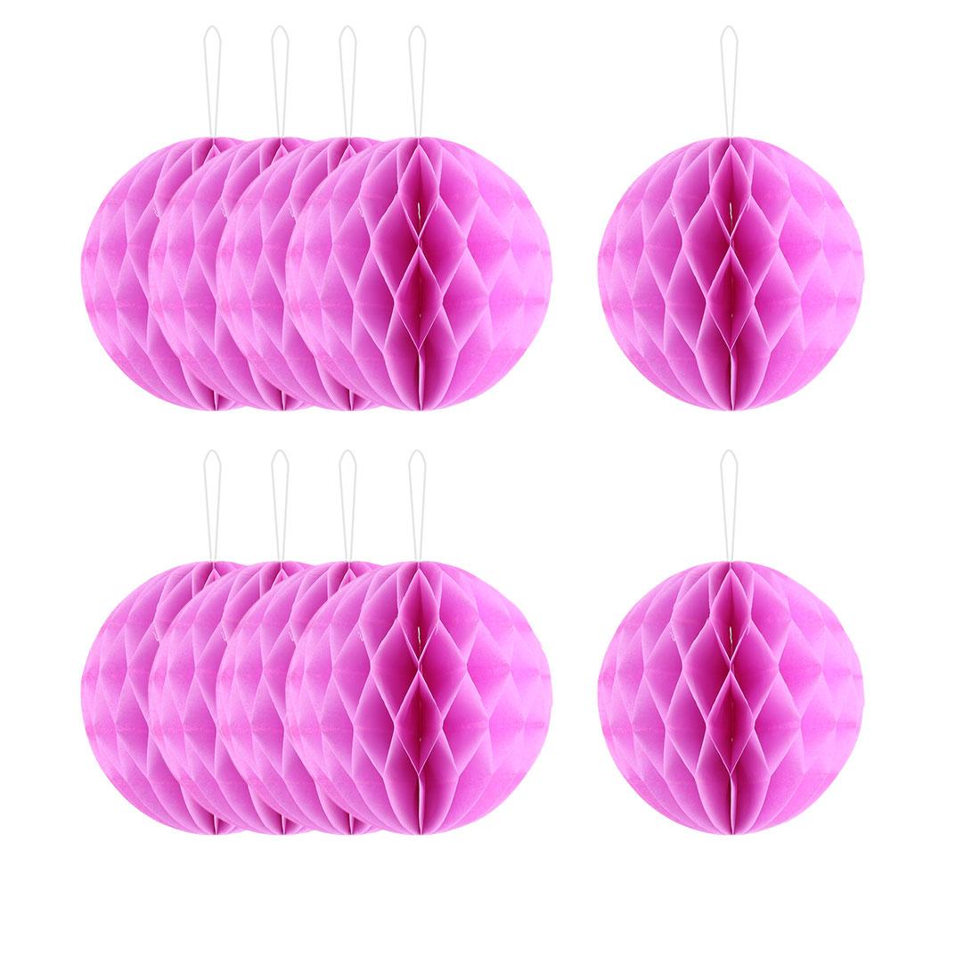Wedding Party Paper Round Hanging Lantern Lamp Honeycomb Ball Decor Dark Pink 6 Inch Dia 10pcs
