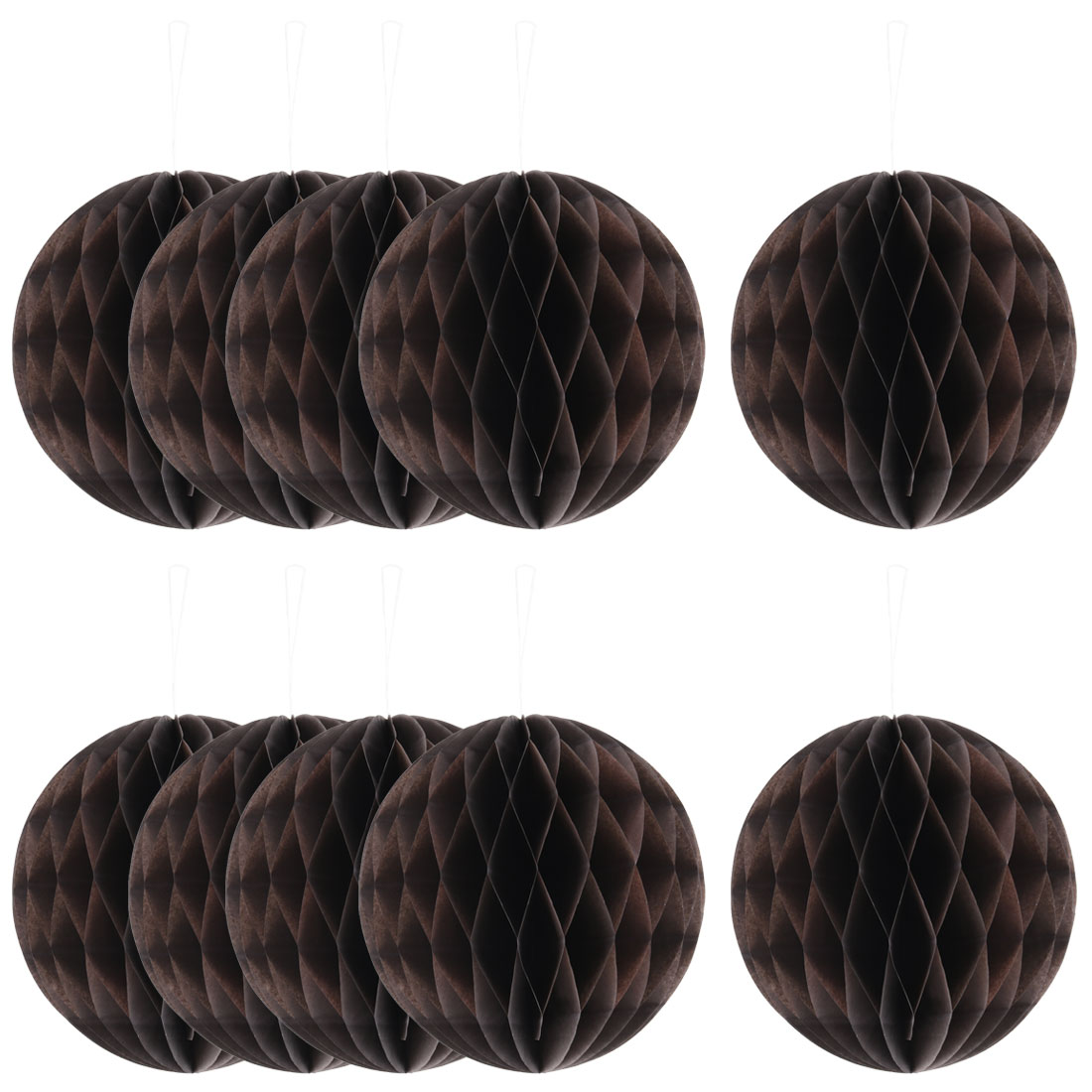 Wedding Party Paper Round Hanging Lantern Lamp Honeycomb Ball Decor Coffee Color 6 Inch Dia 10pcs