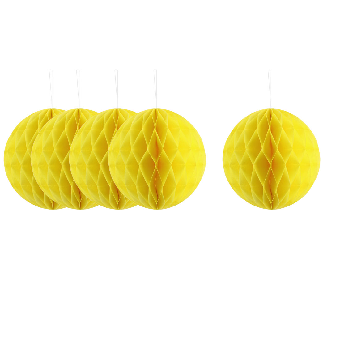 Festival Paper Handmade DIY Hanging Decor Honeycomb Ball Lantern Yellow 8 Inches 5pcs