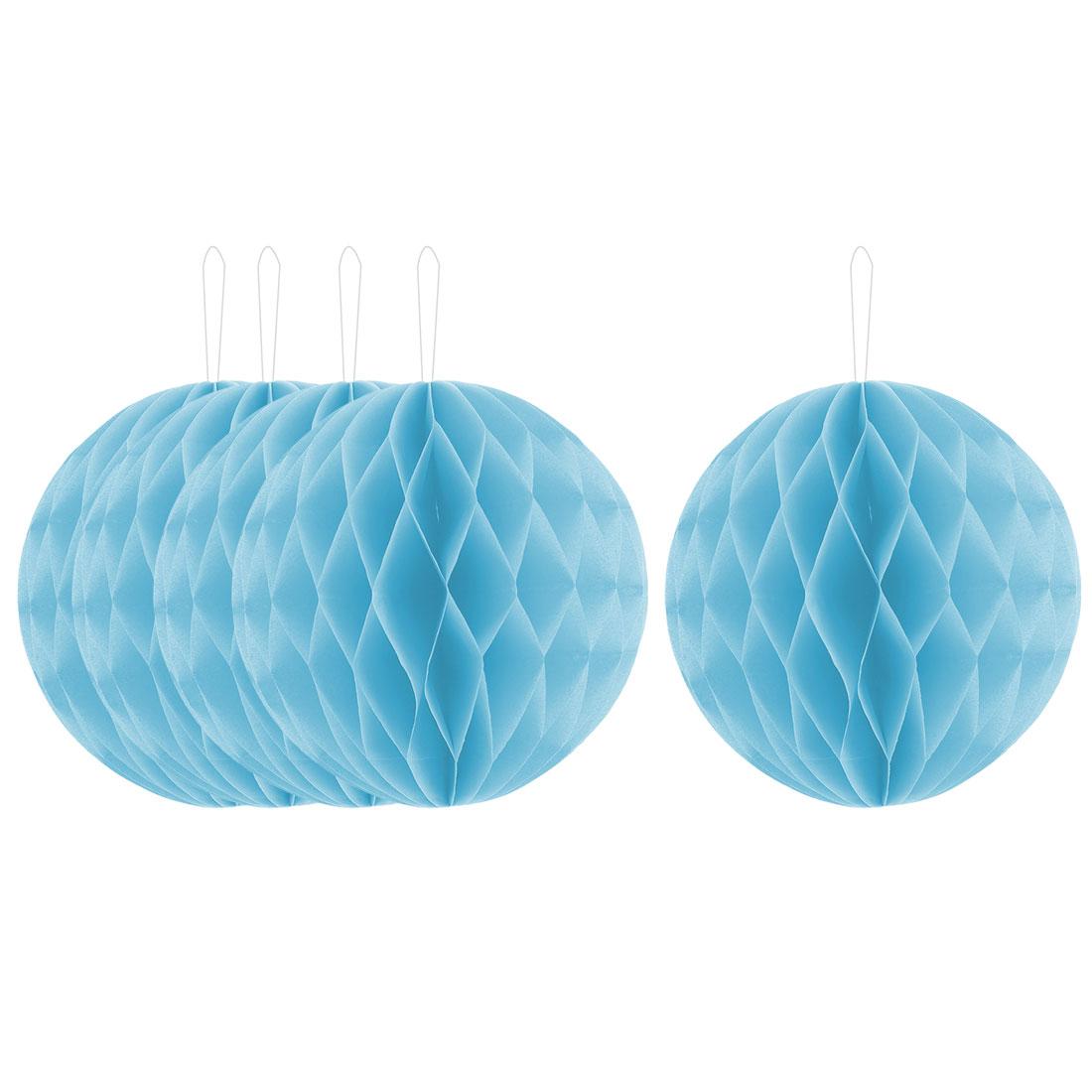 Festival Paper Handmade DIY Hanging Decor Honeycomb Ball Lantern Light Blue 8 Inches 5pcs