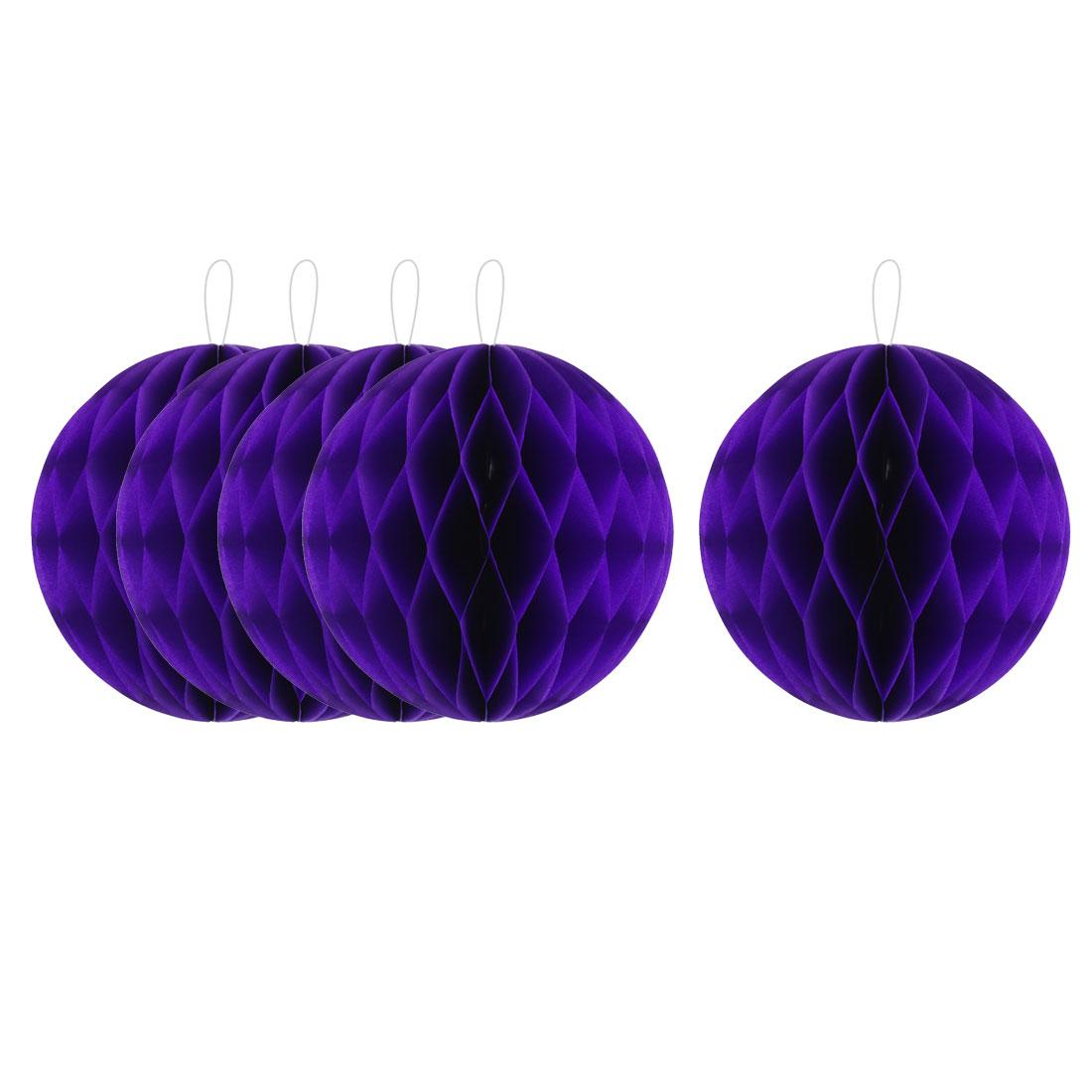 Party Paper DIY Craft Hanging Decor Honeycomb Ball Lantern Dark Purple 8 Inches 5pcs