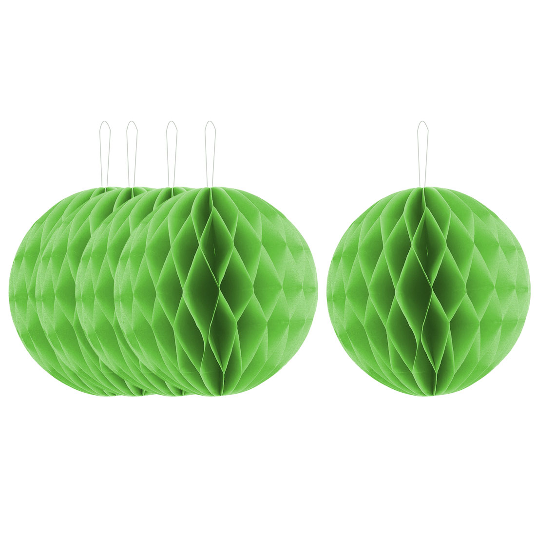 Party Paper DIY Craft Hanging Decor Honeycomb Ball Lantern Light Green 8 Inches 5pcs