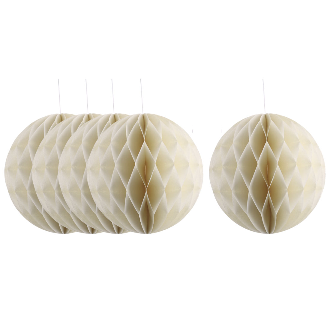 Party Paper DIY Craft Hanging Decor Honeycomb Ball Lantern Beige 8 Inches 5pcs