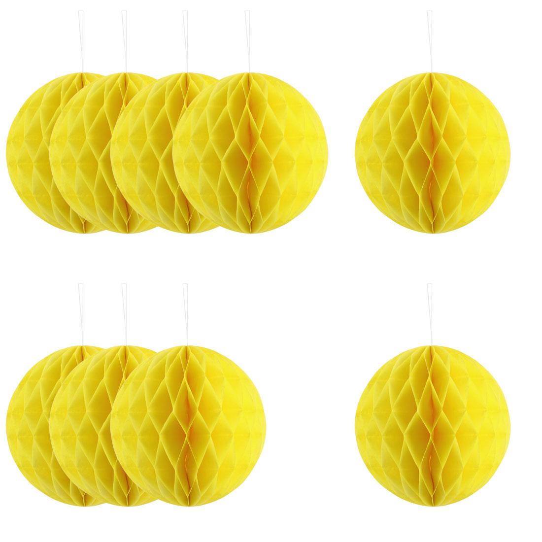 Festival Paper Handmade DIY Hanging Decor Honeycomb Ball Lantern Yellow 8 Inches 10pcs