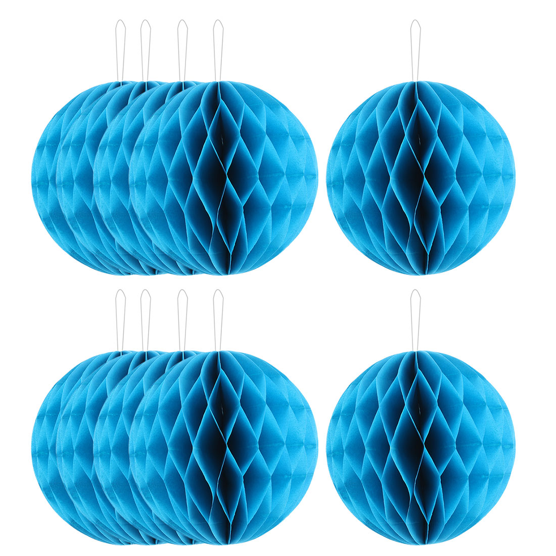 Festival Paper Handmade DIY Hanging Decor Honeycomb Ball Lantern Blue 8 Inches 10pcs