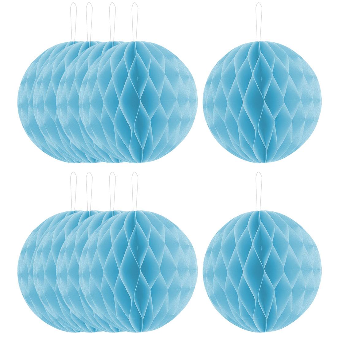 Festival Paper Handmade DIY Hanging Decor Honeycomb Ball Lantern Light Blue 8 Inches 10pcs