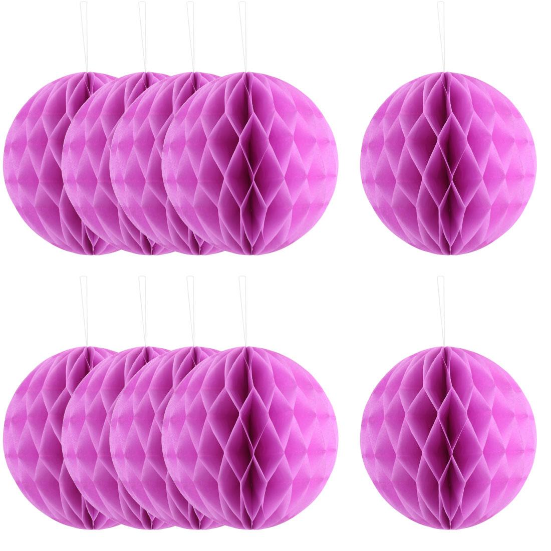 Festival Paper Handmade DIY Hanging Decor Honeycomb Ball Lantern Light Purple 8 Inches 10pcs