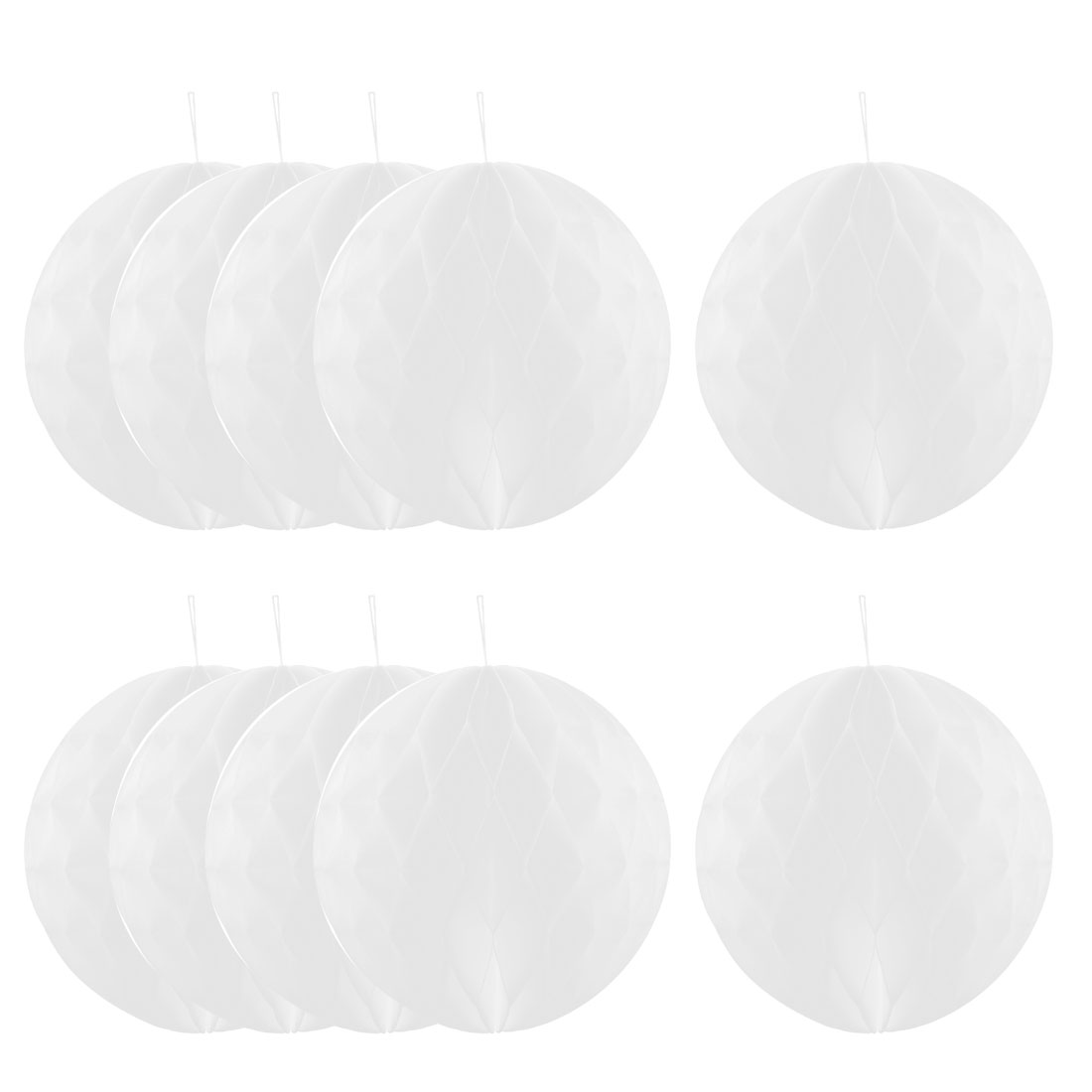 Home Paper Wall Window Hanging Decor Lantern Honeycomb Ball White 10 Inch Dia 10 Pcs