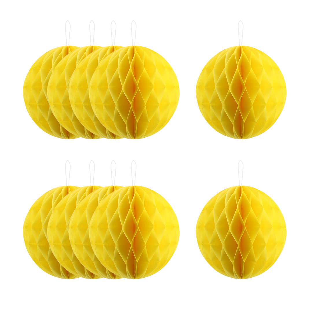 Home Paper Wall Window Hanging Decor Lantern Honeycomb Ball Yellow 10 Inch Dia 10 Pcs
