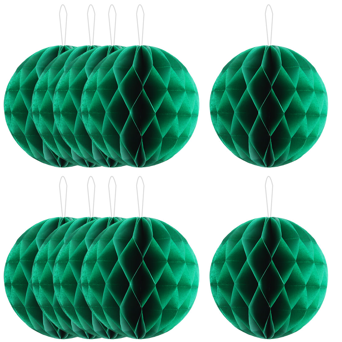 Family Paper Wall Door Hanging Decor Lantern Honeycomb Ball Green 10 Inch Dia 10 Pcs
