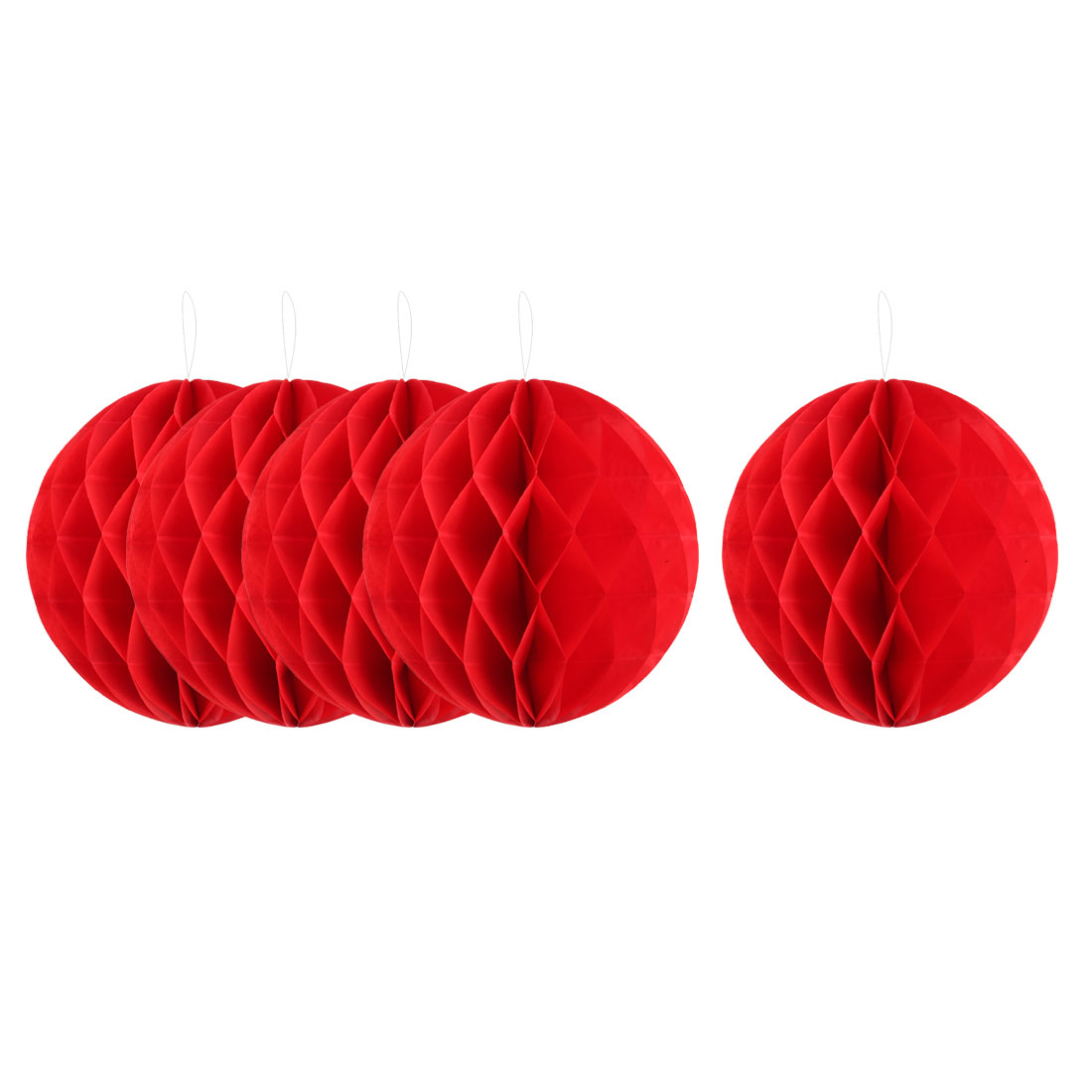 Home Hotel Paper Wall Window Door DIY Decoration Honeycomb Ball Red 12 Inch Dia 5 Pcs