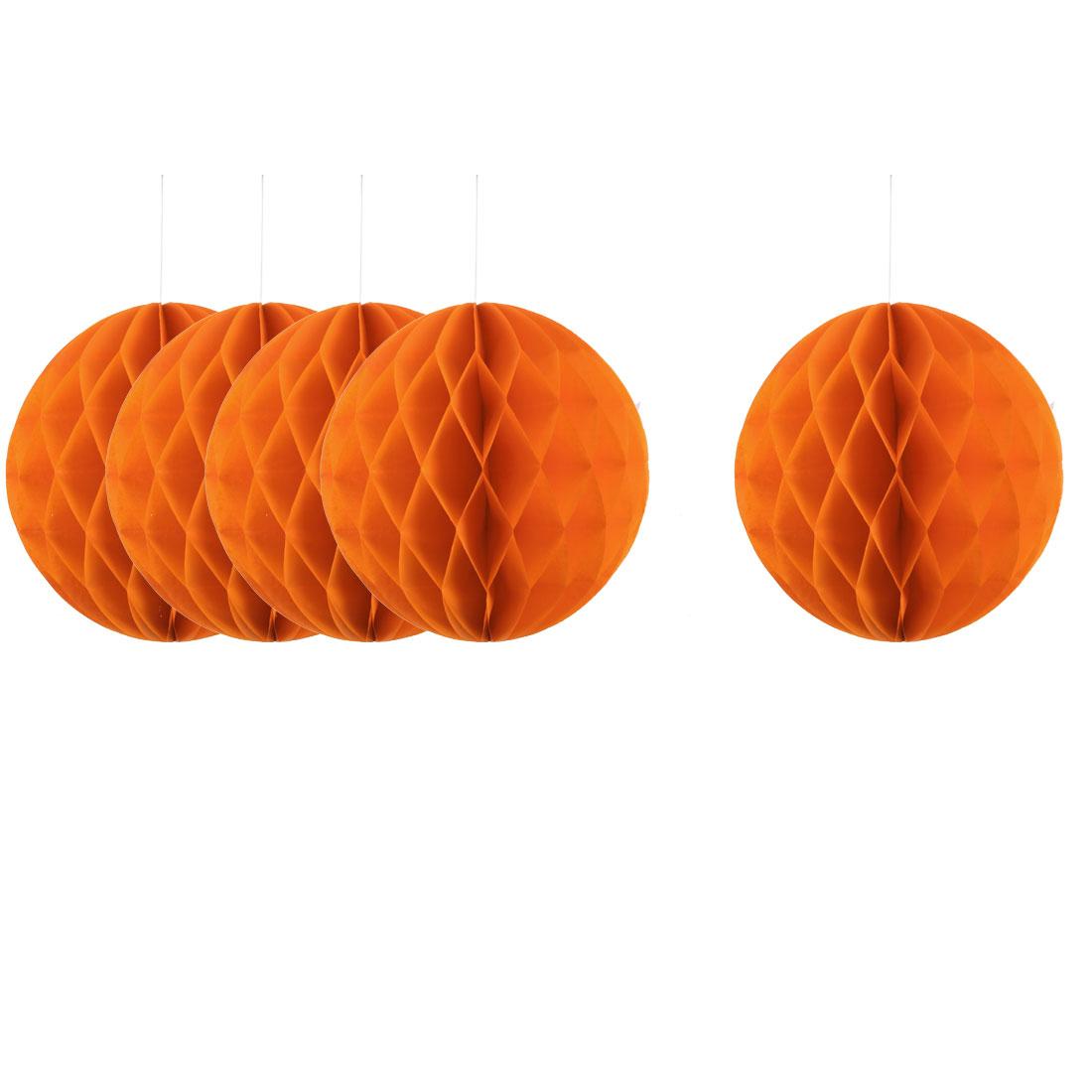 Home Hotel Paper Wall Window Door DIY Decoration Honeycomb Ball Orange 12 Inch Dia 5 Pcs