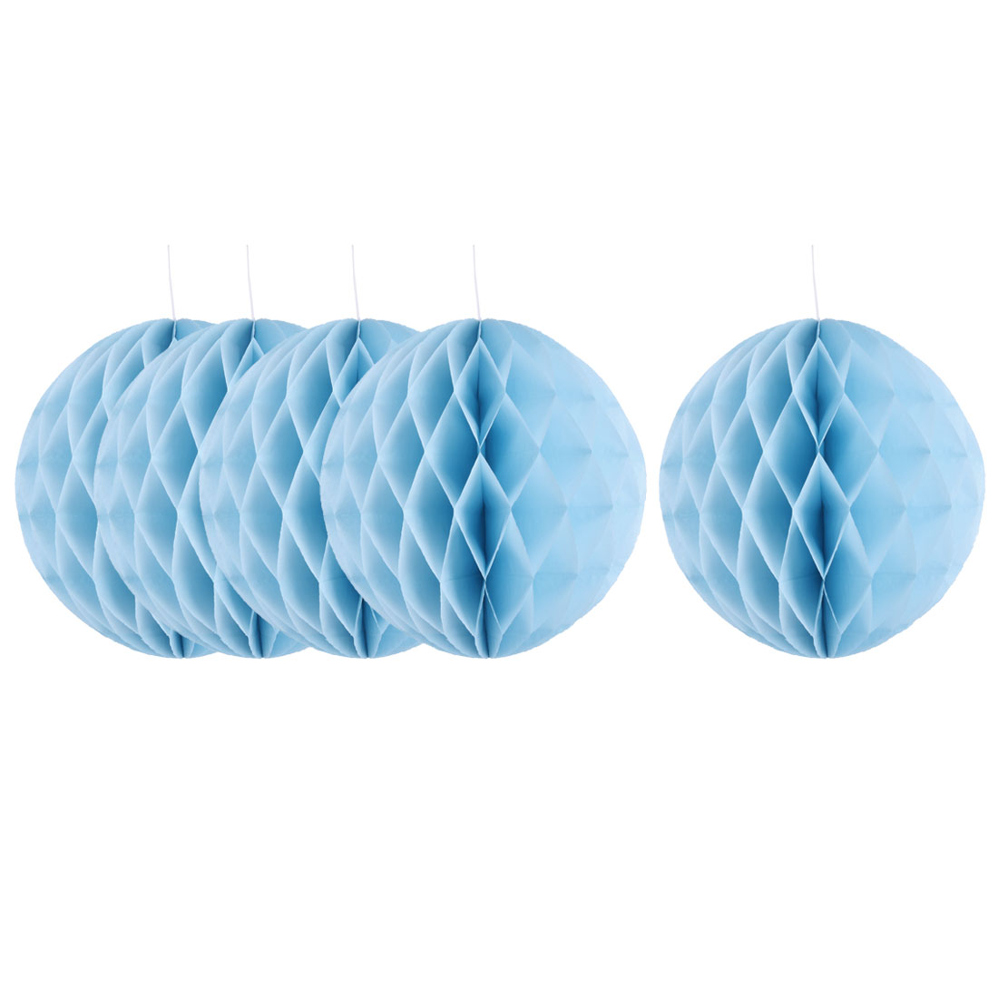 Household Party Paper Wall Window Door DIY Decoration Honeycomb Ball Sky Blue 12 Inch Dia 5 Pcs