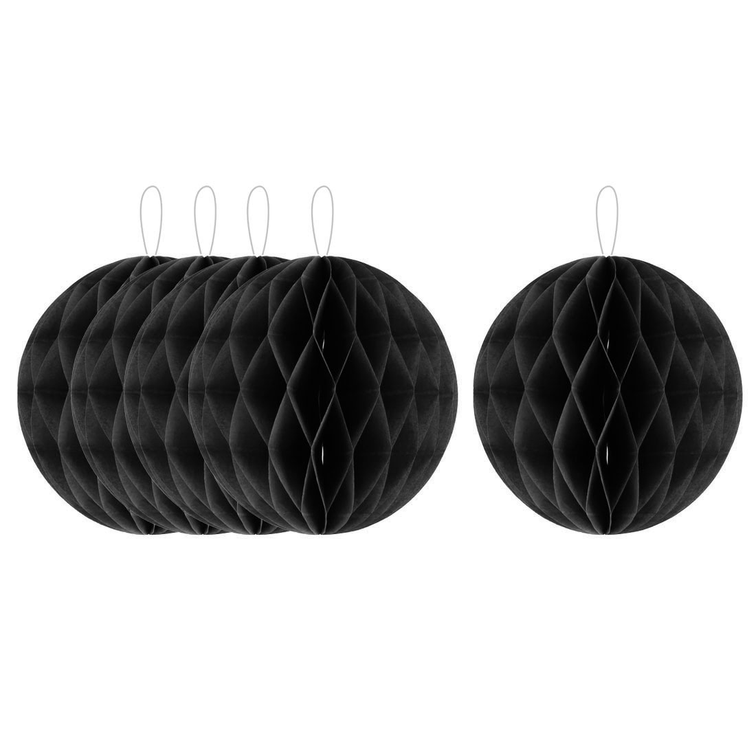 Household Party Paper Wall Window Door DIY Decoration Honeycomb Ball Black 12 Inch Dia 5 Pcs