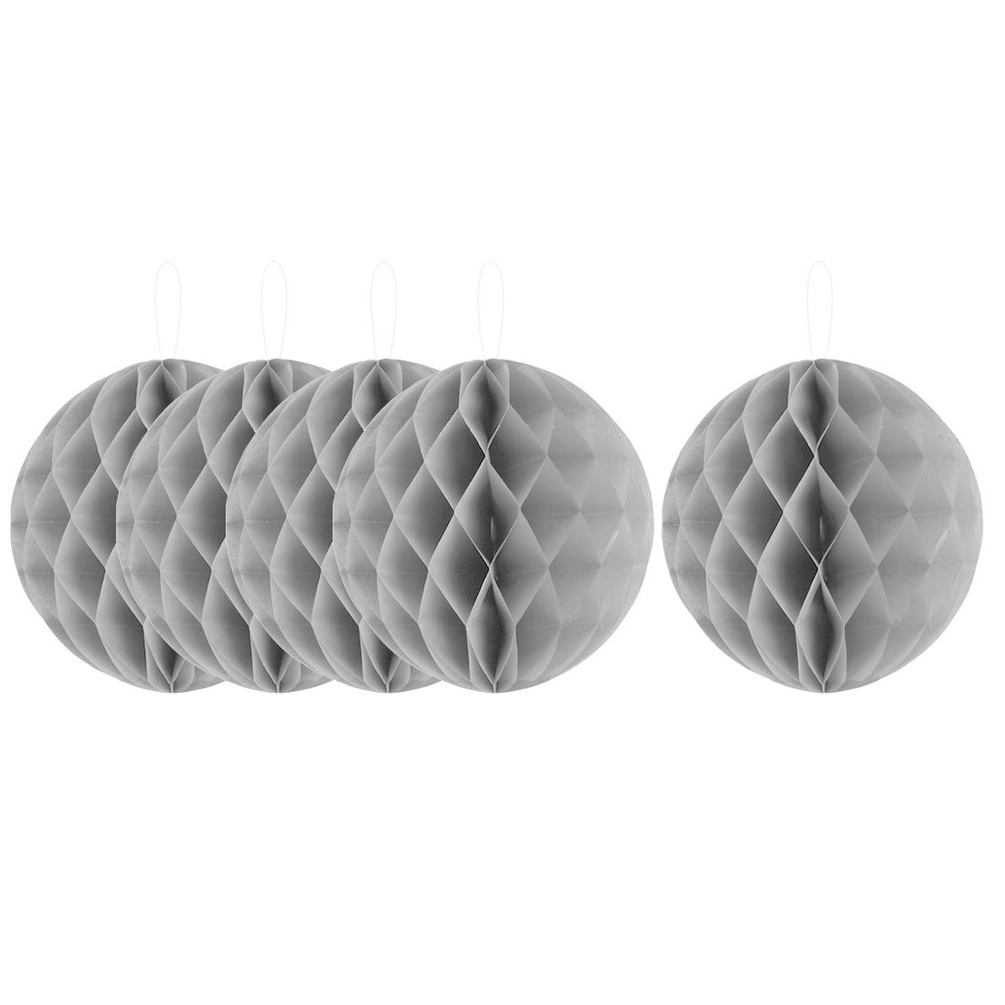 Household Party Paper Wall Window Door DIY Decoration Honeycomb Ball Gray 12 Inch Dia 5 Pcs