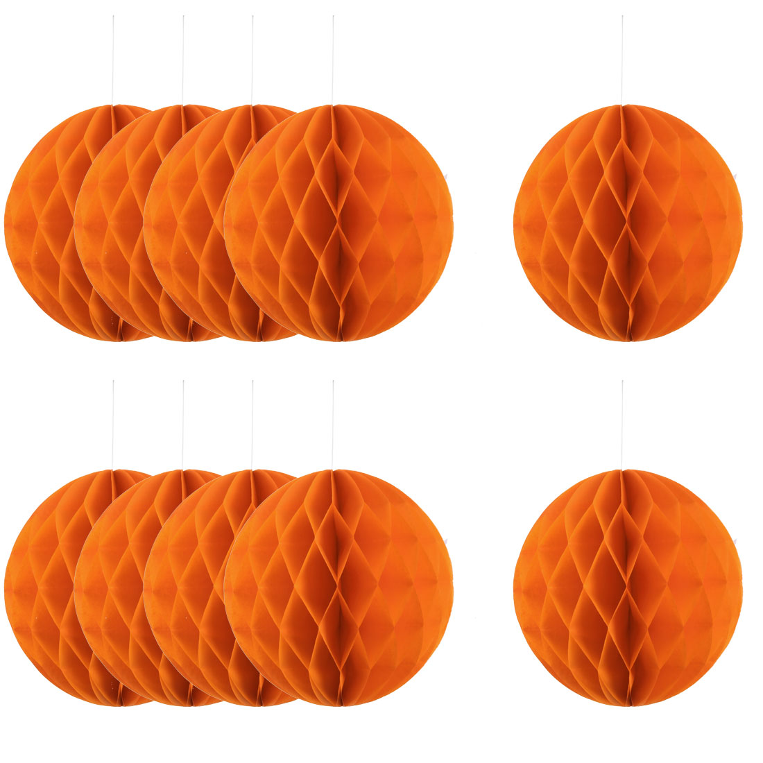 Home Hotel Paper Wall Window Door DIY Decoration Honeycomb Ball Orange 12 Inch Dia 10 Pcs