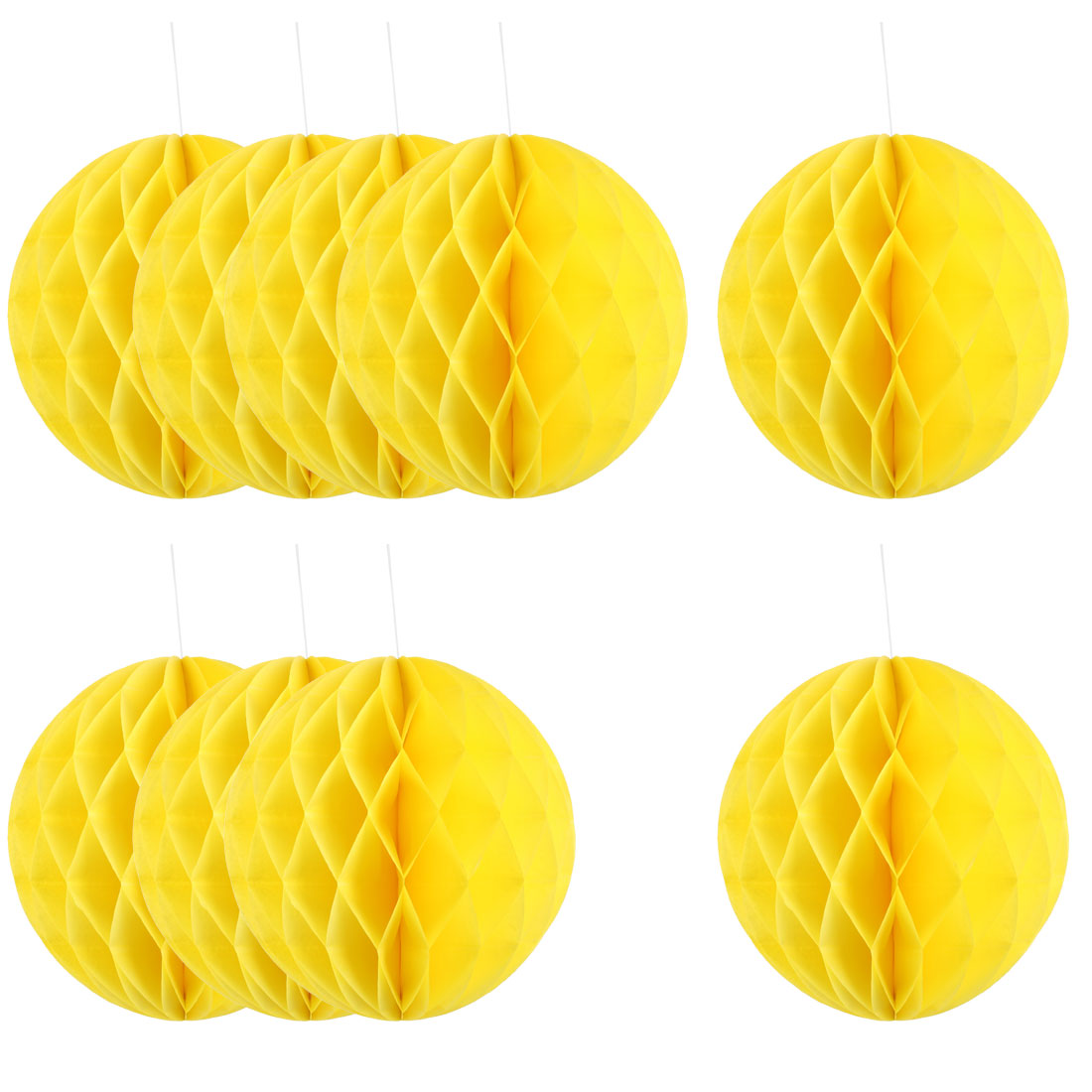 Household Party Paper Wall Window Door DIY Decoration Honeycomb Ball Yellow 12 Inch Dia 10 Pcs