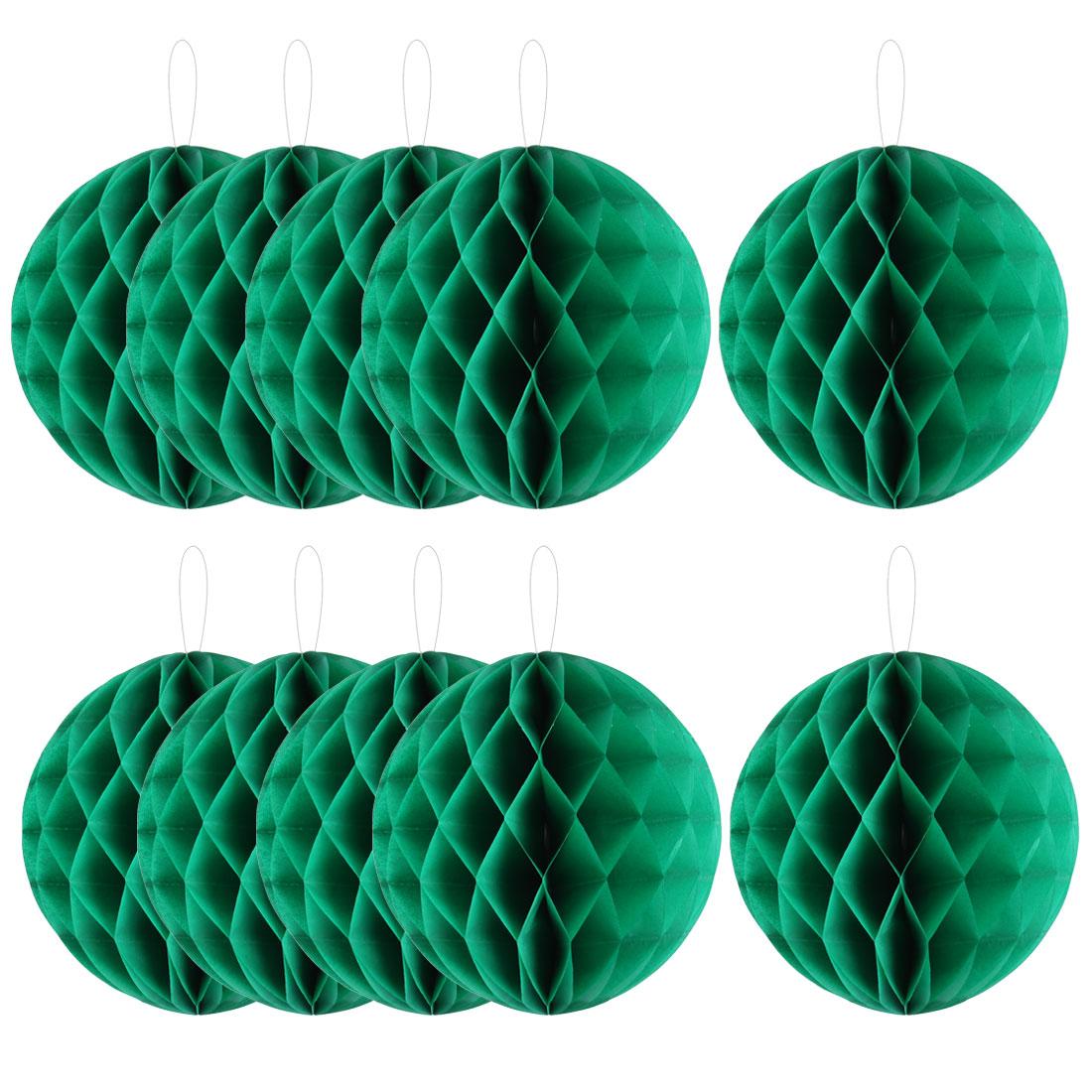 Home Hotel Paper Wall Window Door DIY Decoration Honeycomb Ball Green 12 Inch Dia 10 Pcs