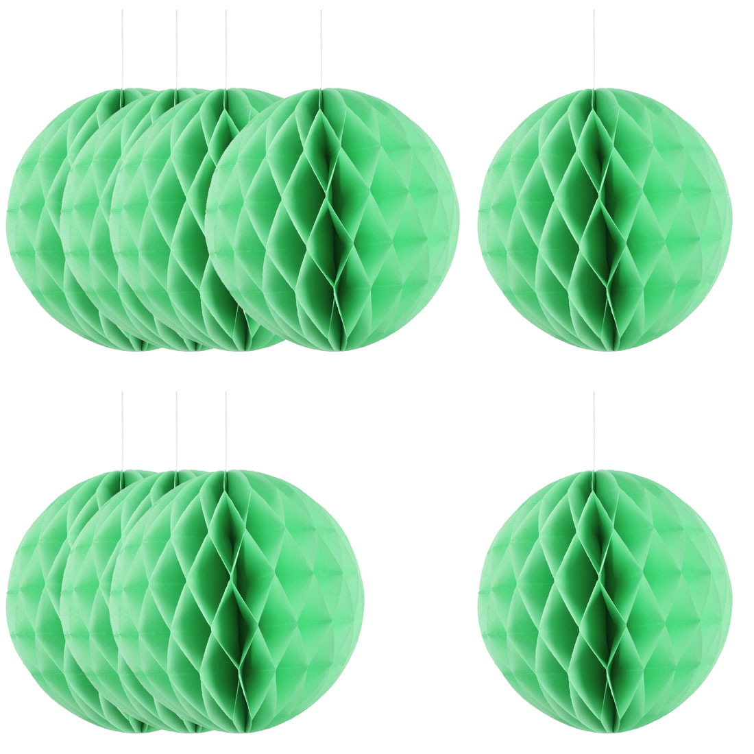 Home Hotel Paper Wall Window Door DIY Decoration Honeycomb Ball Pale Green 12 Inch Dia 10 Pcs