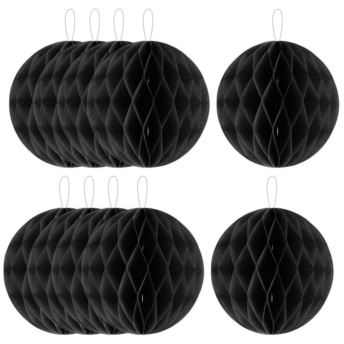 Household Party Paper Wall Window Door DIY Decoration Honeycomb Ball Black 12 Inch Dia 10 Pcs