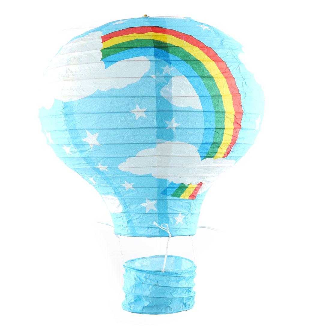 Party Graduation Paper Rainbow Print DIY Lightless Hanging Decoration Hot Air Balloon Lantern Blue