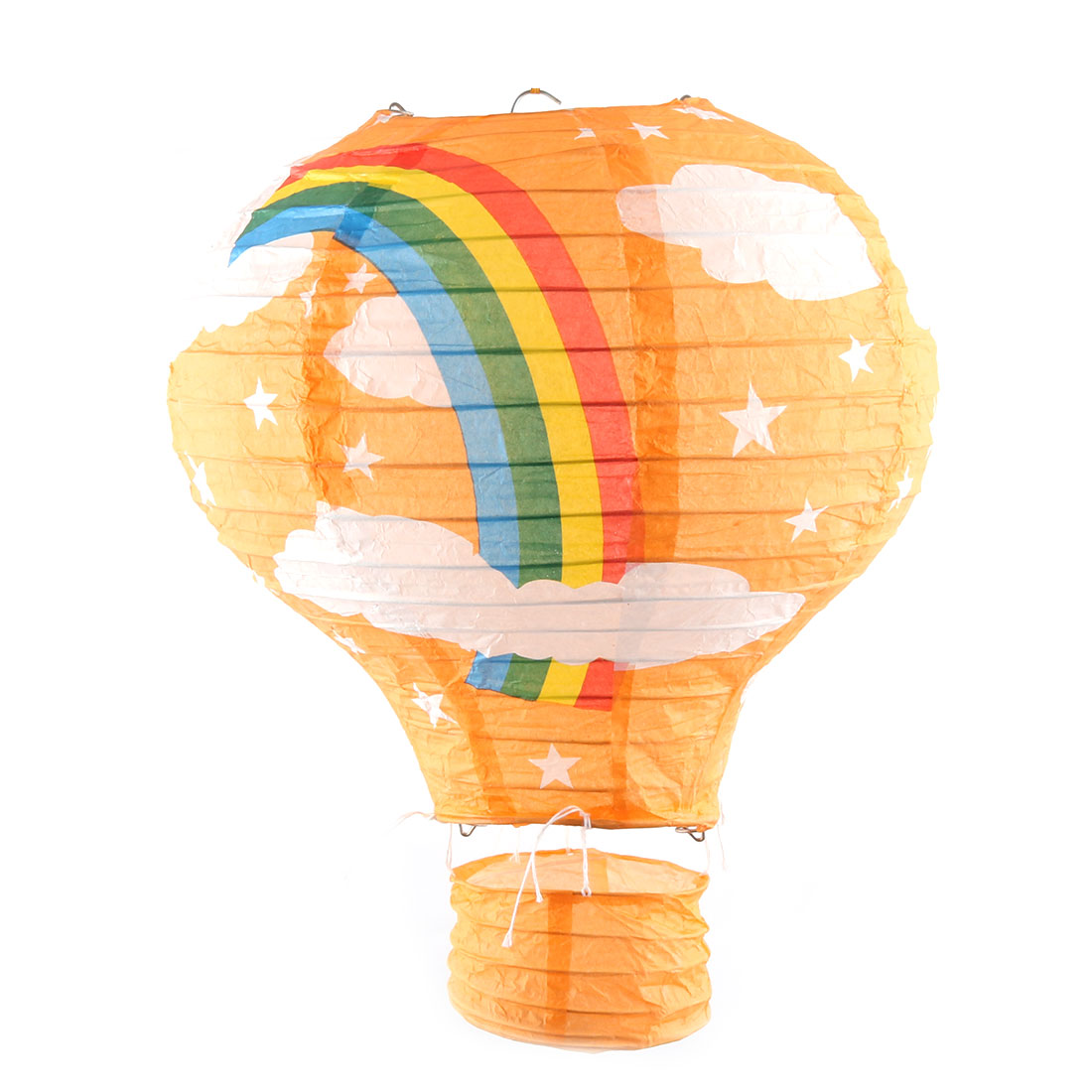 Party Graduation Paper Rainbow Print DIY Lightless Hanging Decoration Hot Air Balloon Lantern Orange