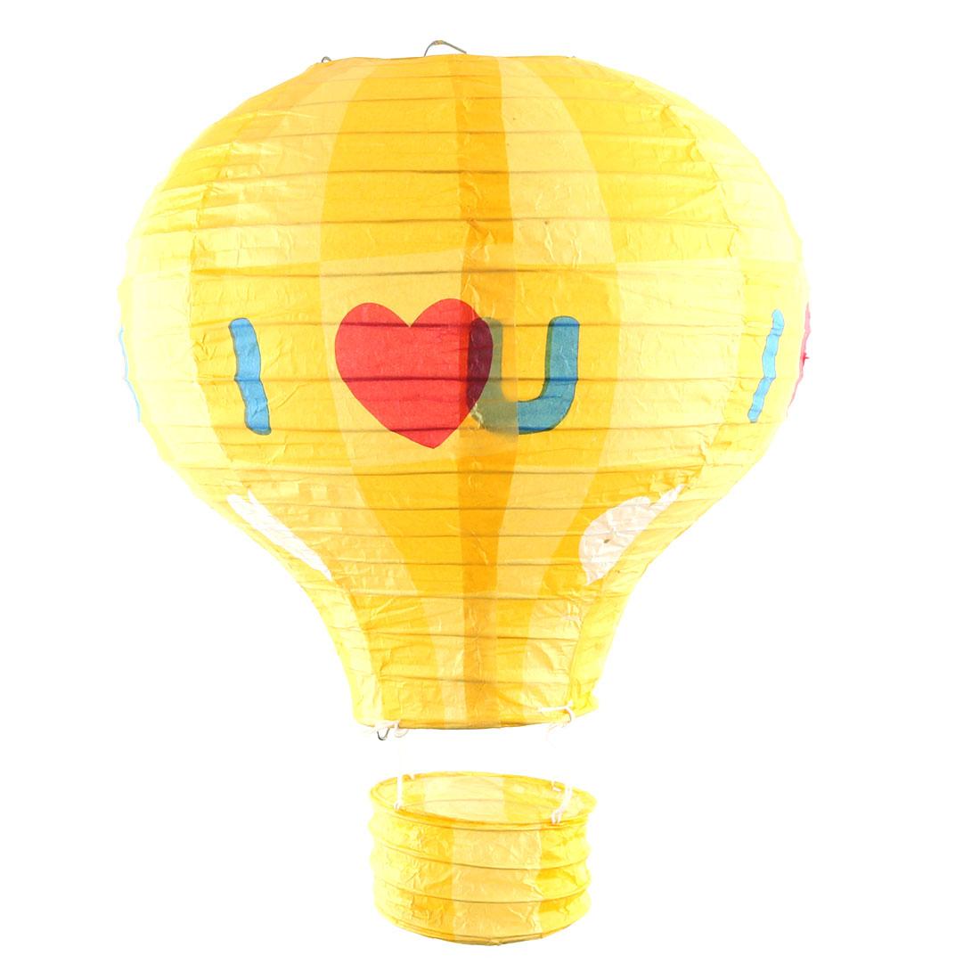 Engagement Feast Paper Heart Pattern DIY Lightless Hanging Decor Hot Air Balloon Lantern Yellow 10 Inches Dia