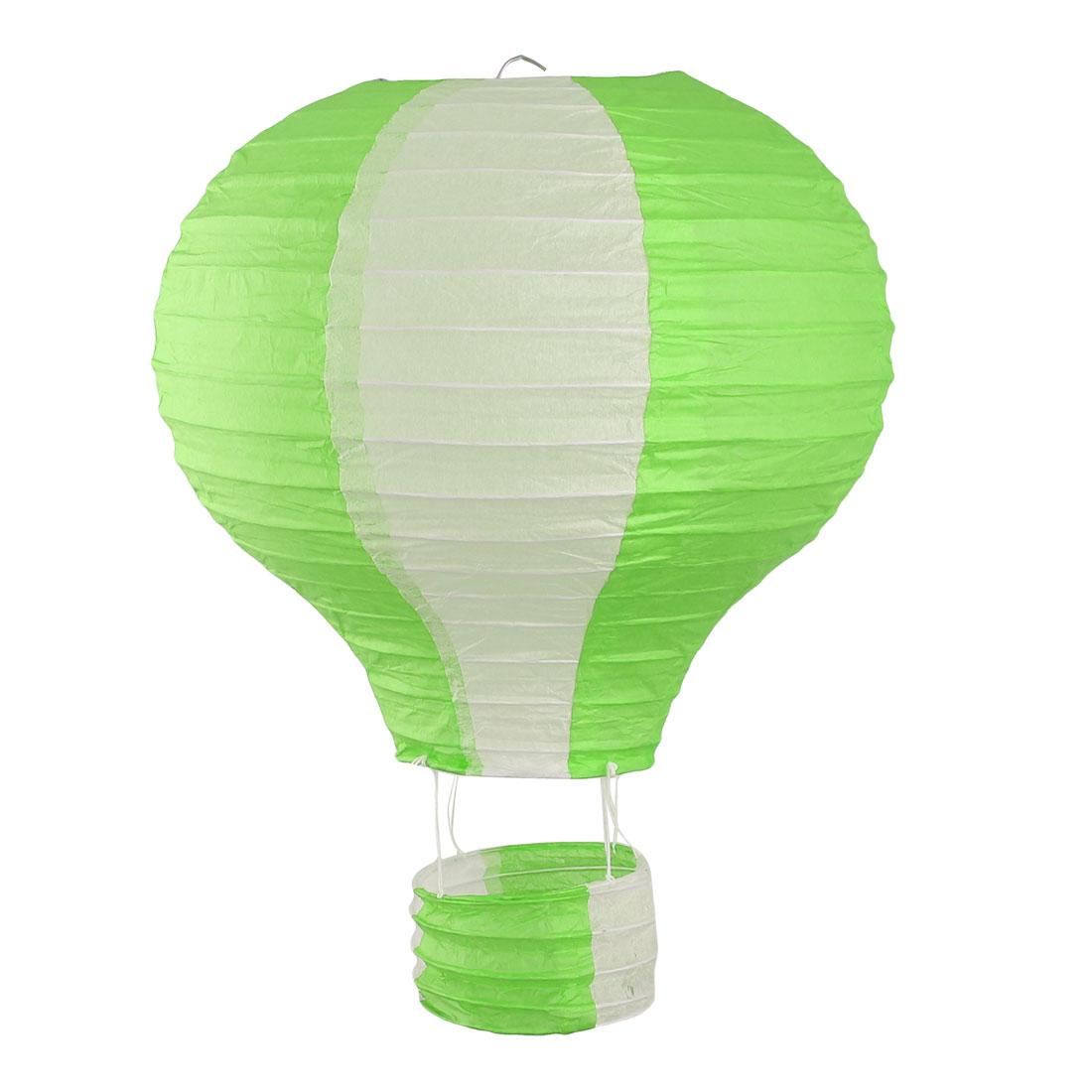 Restaurant Party Paper Lightless Hanging DIY Decor Hot Air Balloon Lantern Green White 10 Inch Dia