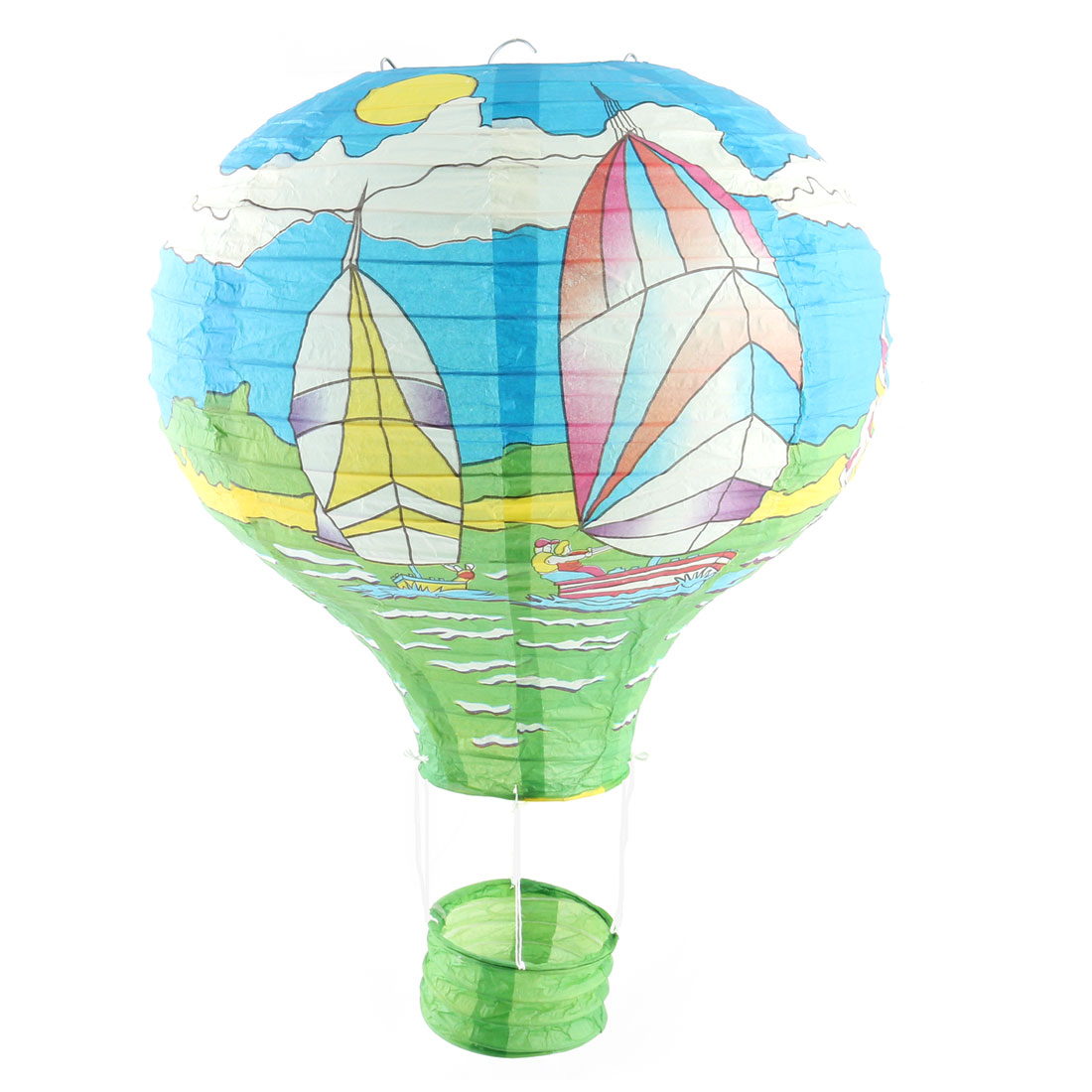 Graduation Wedding Paper Sailing Boat Pattern Lightless Hanging DIY Ornament Hot Air Balloon Lantern Blue 12 Inches Dia