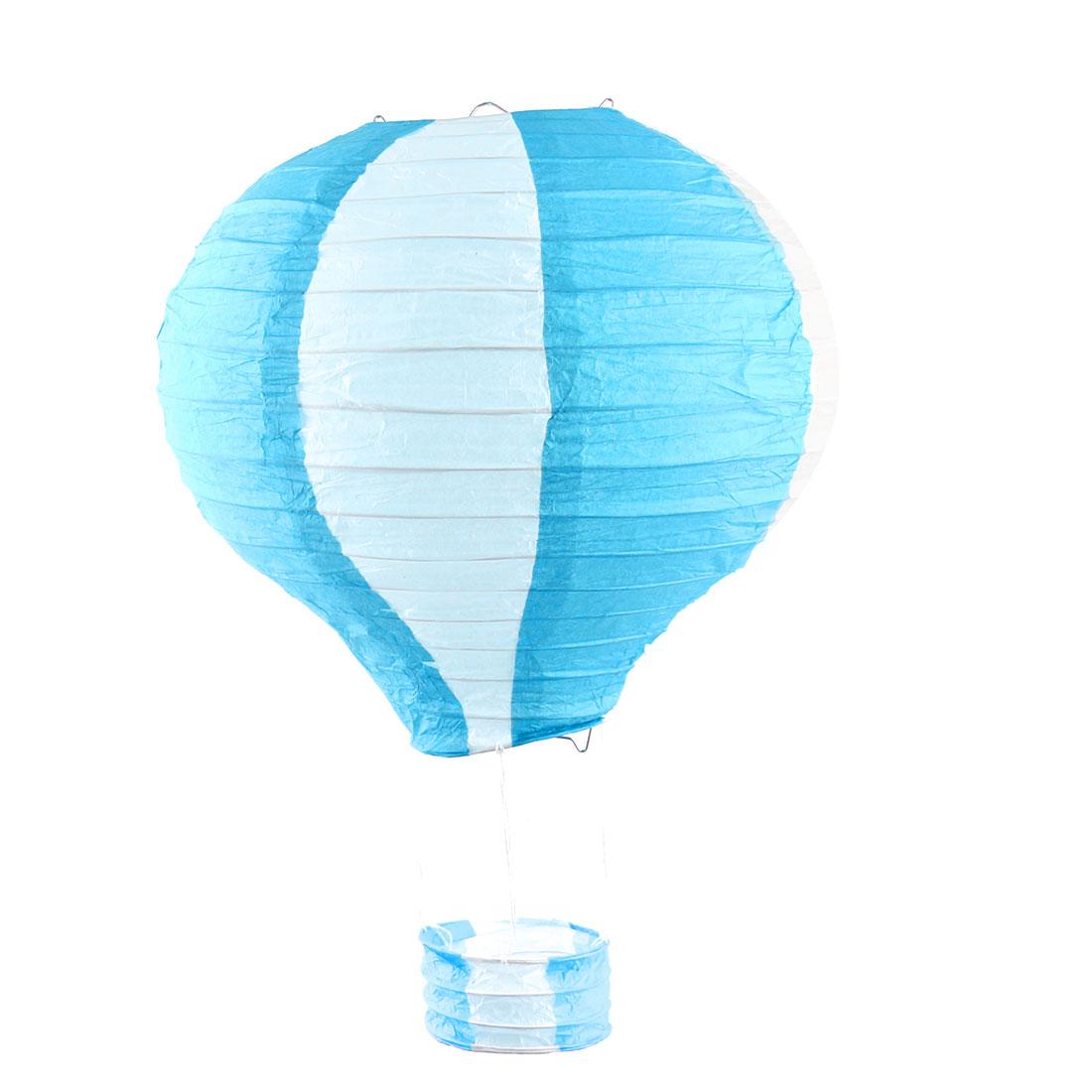 Engagement Festival Party Paper DIY Handmade Lightless Hanging Hot Air Balloon Lantern Sky Blue White