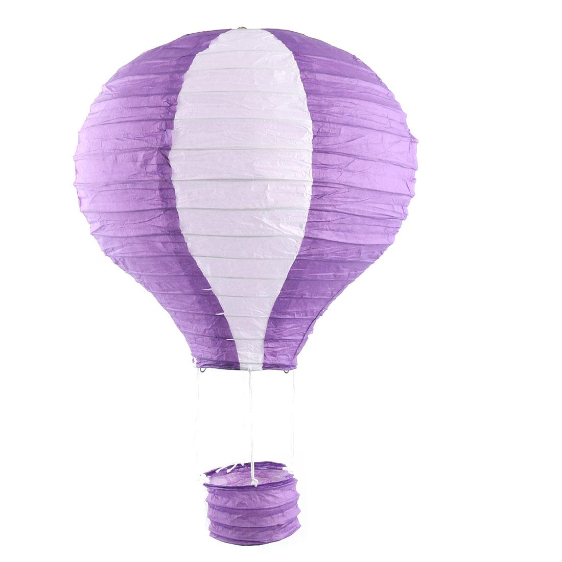 Engagement Festival Party Paper DIY Handmade Lightless Hanging Hot Air Balloon Lantern Purple White