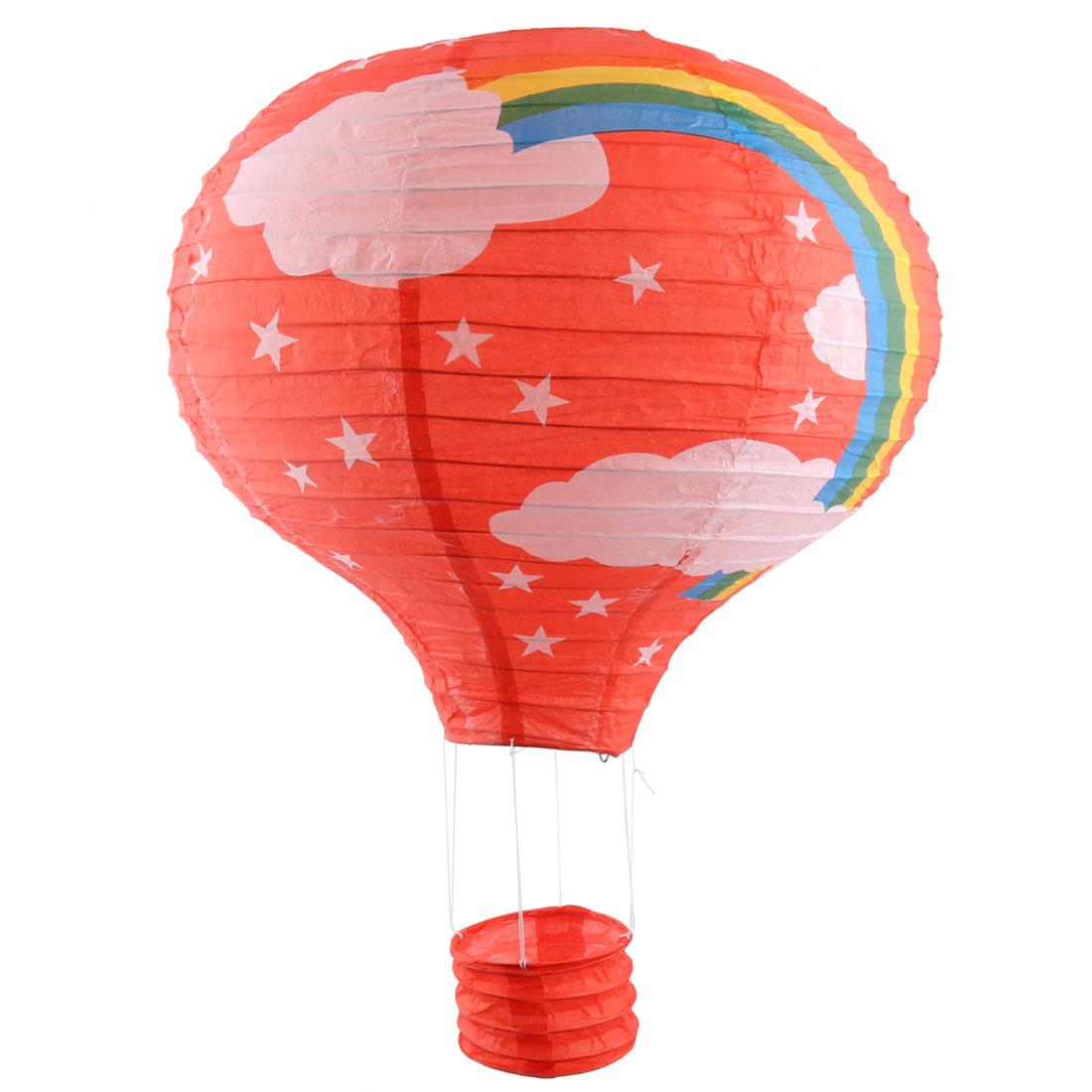 Wedding Festival Paper Rainbow Pattern DIY Decorative Lightless Hanging Hot Air Balloon Lantern Red