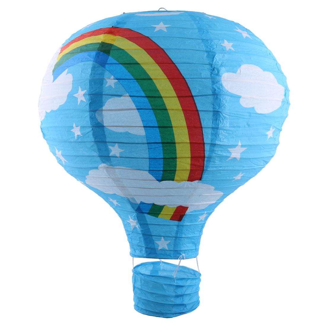 Wedding Festival Paper Rainbow Pattern DIY Decorative Lightless Hanging Hot Air Balloon Lantern Blue