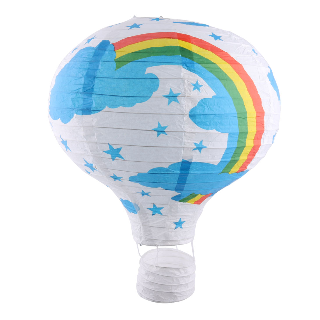 Wedding Festival Paper Rainbow Pattern DIY Decorative Lightless Hanging Hot Air Balloon Lantern White