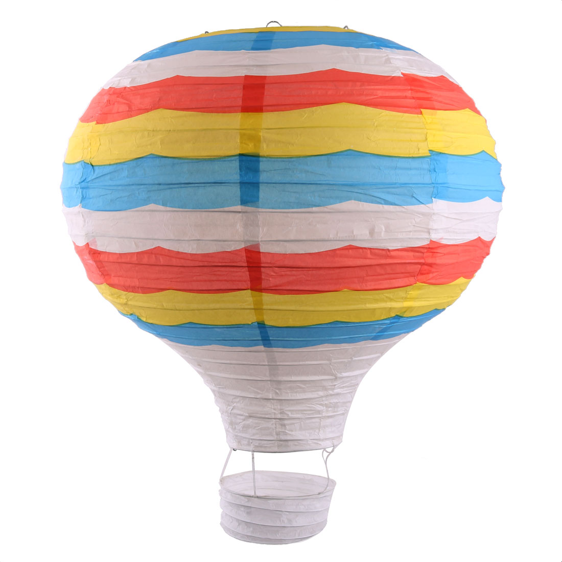 Wedding Holiday Paper Stripe Pattern DIY Room Hanging Lightless Hot Air Balloon Lantern Colorful 16 Inches Dia