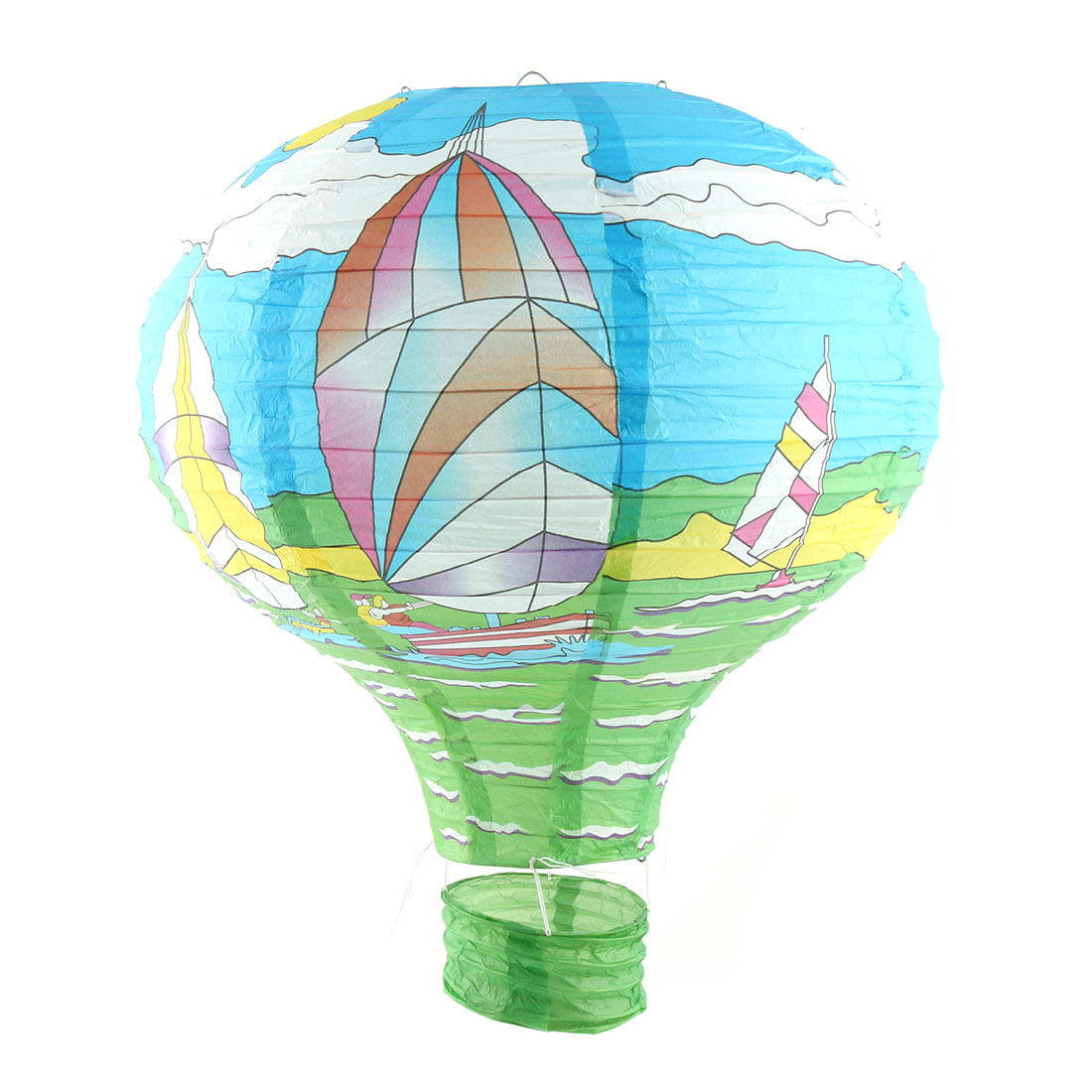 Wedding Holiday Paper Sailing Boat Pattern DIY Room Hanging Lightless Hot Air Balloon Lantern Blue 16 Inches Dia