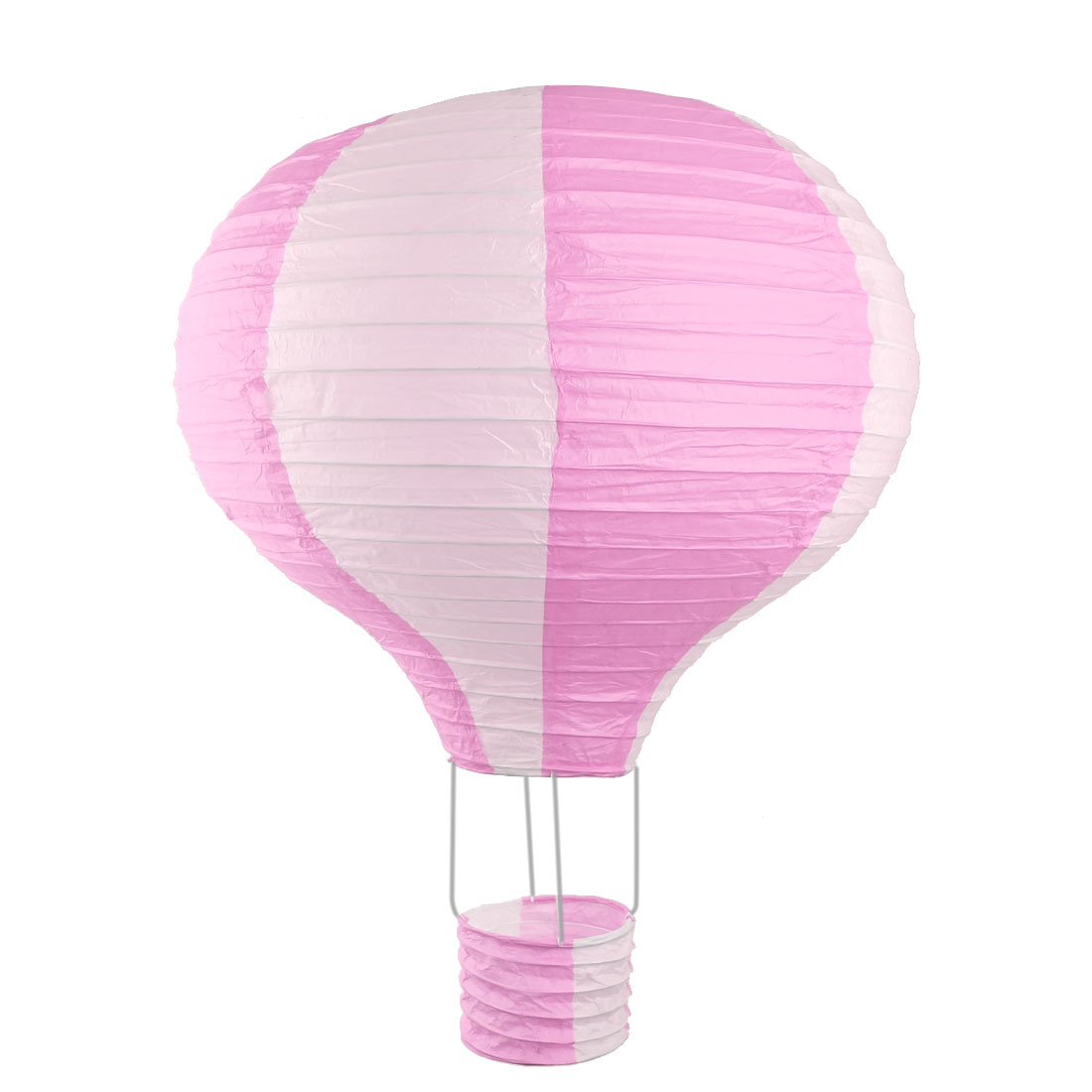 Household Party Paper Lightless Hanging DIY Decor Hot Air Balloon Lantern Pink White 16 Inch Dia