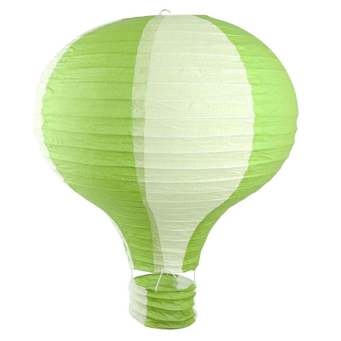 Household Party Paper Lightless Hanging DIY Decor Hot Air Balloon Lantern Light Green White 16 Inch Dia