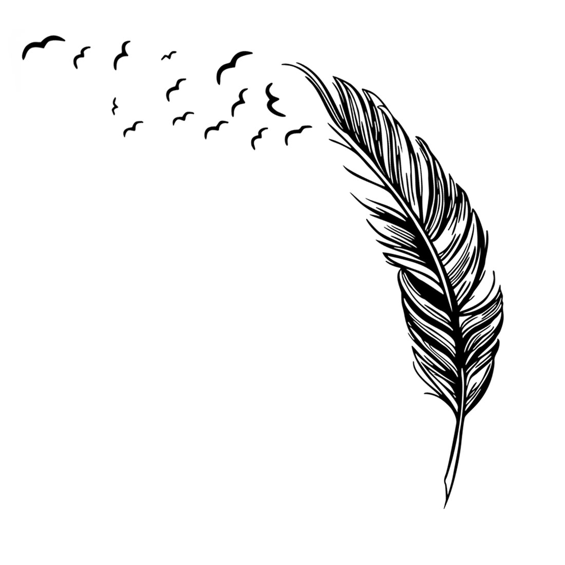 Home Office PVC Feather Print Self-adhesive Window Film Protector Wall Decal Sticker Wallpaper Black